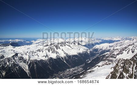 Chamonix Valley from the Aiguille du midi station. Europe