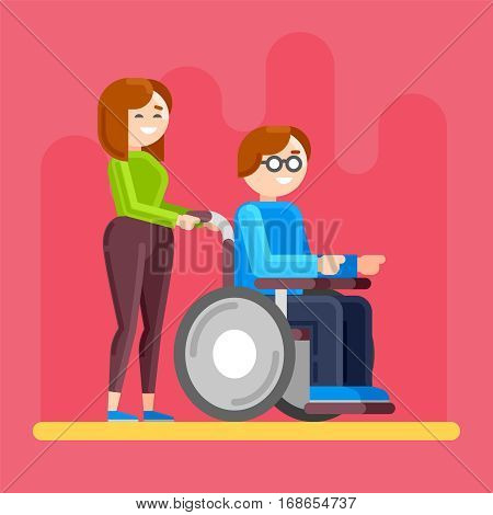 Caring for invalid. Disabled person care. Disabled young man in wheelchair. Special needs child with carer or friend.