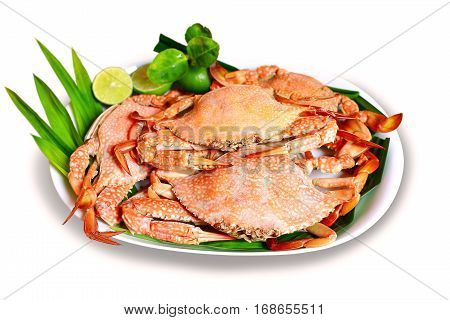 Steamed Blue swimming crabs or flower crabs on white background.