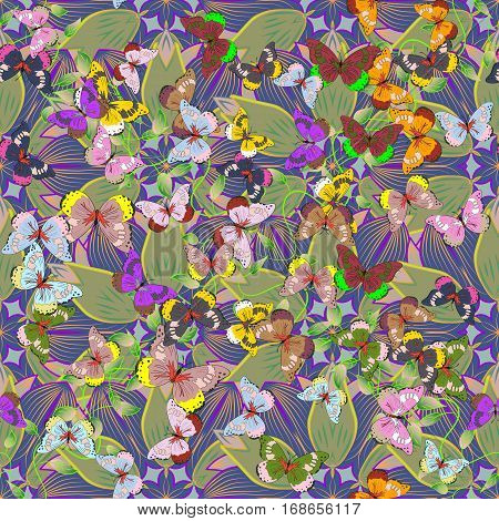 Fun seamless flower pattern in pink and green white lilac blue. Petal flowers. vector illustration texture. Butterfly.