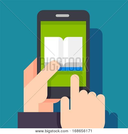 Electronic book concept. Digital book concept. Reading E-book on smartphone. Online mobile library in smartphone. Books in smart phone
