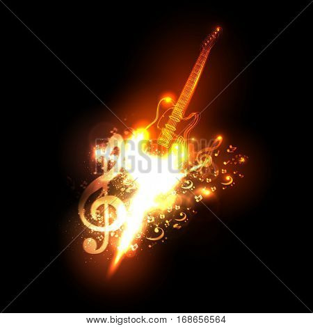Neon guitar fire design easy all editable