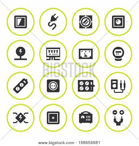 Set round icons of electricity isolated on white. Vector illustration