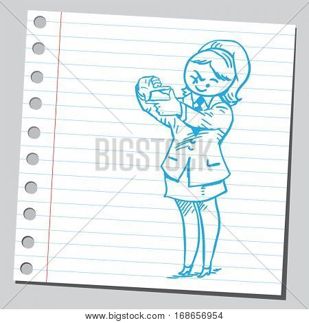 Businesswoman making frame of hands