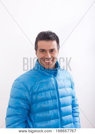 Man In Blue Feather Jacket