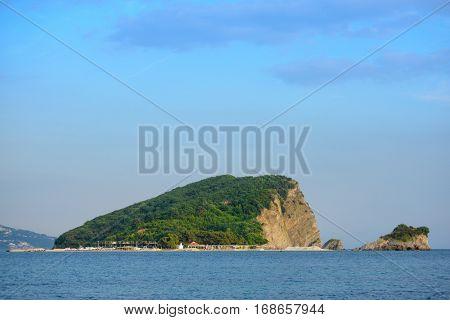 Famous Island of Sveti Nikola in Budva. Montenegro, Balkans, Adriatic sea, Europe.