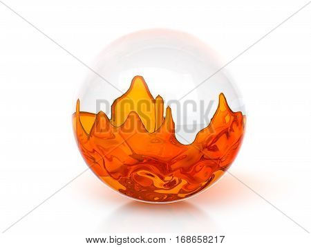 Glass ball with orange liquid on a white background. 3D illustration.