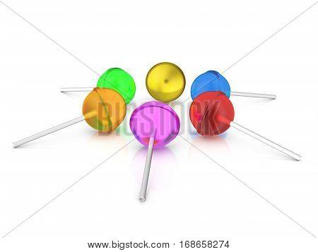 Lollipops Set 3D Illustration