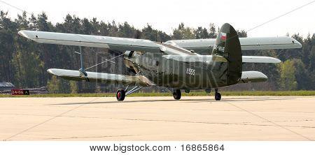 Historic plane paratrooper Antonov An-2 air-landing sortie in airport Line - Czech republic Europe