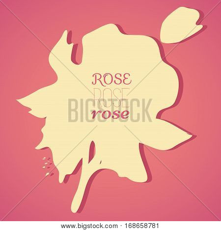 Colorful stain with blotch. Rose. Vector silhouette