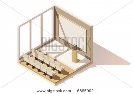 Vector isometric low poly conference room cutaway icon. Includes seats, tribune and projection screen