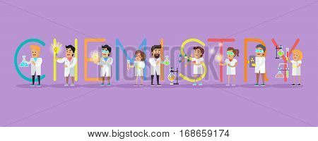 Chemistry banner. Science alphabet. ABC vector with scientists at work. Simple colored letters and scientist character. Scientific research, science lab, science test, technology illustration in flat