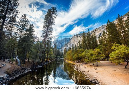 Small river it the Yosemite National Park at sunny day, USA