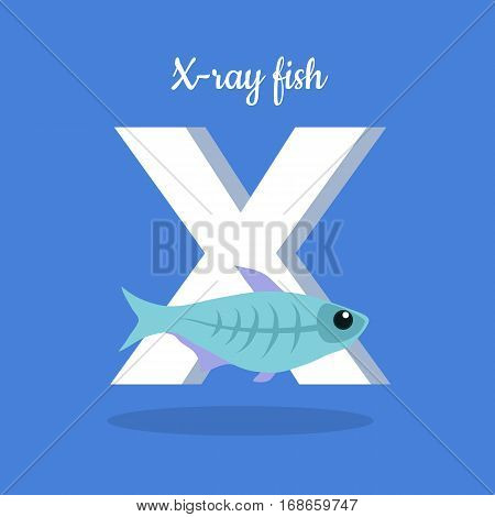 Animal alphabet vector concept. Flat style. Zoo ABC with decorative fish. X-ray fish swimming on blue background, letter X behind. Educational glossary. For children s books, textbooks illustrating