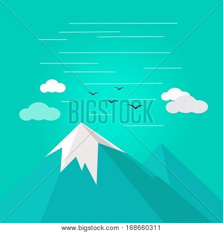 Vector illustration of mountain ridge. View of blue mountains. Mountains landscape, abstract blue panoramic view. Nature background. Isolated vector illustration on white background.
