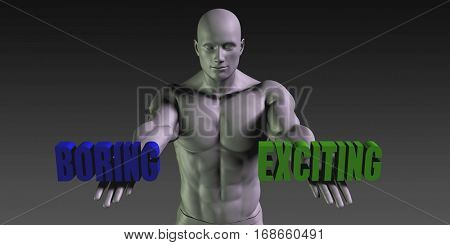 Boring or Exciting as a Versus Choice of Different Belief 3D Illustration Render
