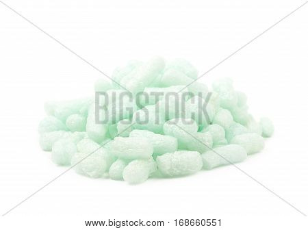 Pile of bioplastic packing foam peanuts isolated over the white background