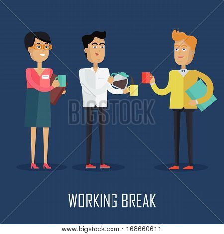 Working break concept vector in flat style design. Business peoples, woman and two man, drinking coffee during break. illustration for business process concepts, time management infographics.