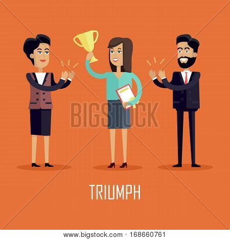 Triumph concept vector in flat style. Successful woman raises cup above her head and receives applause from colleagues. Illustration for business concepts, web pages design, infographics.