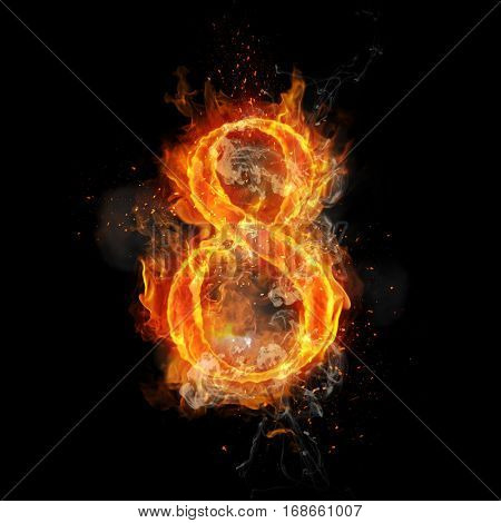 Fire number 8 eight of burning flame. Flaming burn font or bonfire alphabet text with sizzling smoke and fiery or blazing shining heat effect. Incandescent hot red fire glow on black background