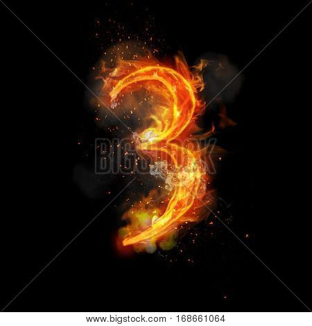 Fire number 3 three of burning flame. Flaming burn font or bonfire alphabet text with sizzling smoke and fiery or blazing shining heat effect. Incandescent hot red fire glow on black background poster