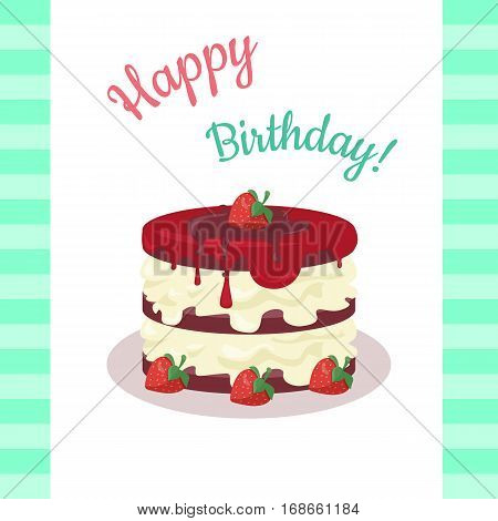 Happy Birthday Cake With Strawberries Isolated Chocolate Or Wedding