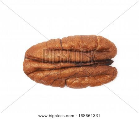 Single pecan nut isolated over the white background