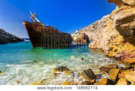 Impressive old shipwreck in Amorgos island, Cyclades, Greece