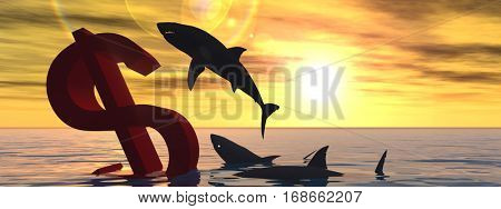 Conceptual 3D illustration bloody dollar symbol sign sinking in water or sea, with black sharks eating, metaphor or concept for crisis in US banner, financial, crash, danger, business currency designs