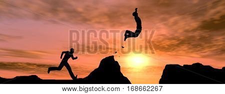 Concept conceptual young 3D illustration man businessman silhouette jump happy from cliff over  gap sunset sunrise sky background banner for freedom, nature, mountain, success, free, joy, health risk