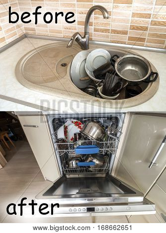 Sink with dirty kitchenware, utensils and dishes. Open dishwasher with clean dishes. Improvement, easy, comfort life and progress concept.