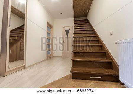 Modern Architecture Interior With Elegant Luxury Hallway With Glossy Wooden Staps Stairs In Modern S