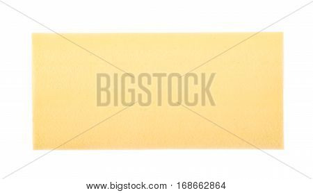 Dried lasagna pasta sheet isolated over the white background