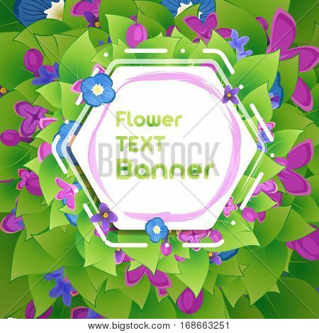 Banner in the botanical foliage and flowers of lilac. Floral background