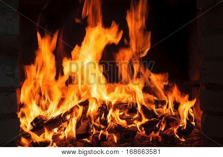 bright fire flames in fireplace. bright flame and fire from burning woods
