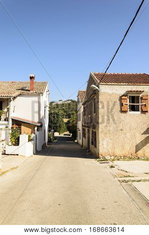 view of an empty street in a traditional old village in dalmatia croatia