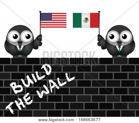 Representation of the USA border wall with Mexico