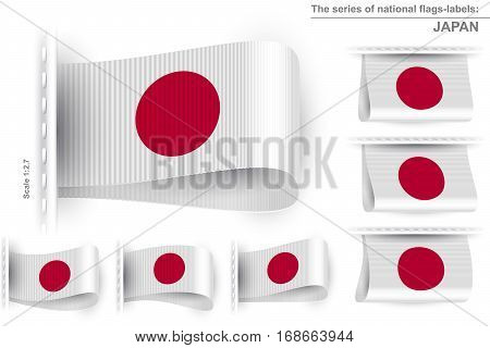 Flag of Japan; Symbol of the japanese national patriotic pride and political power; Sewn clothing label tag from state flag of Nippon-koku Nihon-koku; Land of the Rising Sun; Vector set icon Eps10