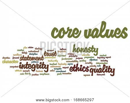 Conceptual core values integrity ethics abstract concept word cloud isolated on background metaphor to honesty, quality, trust, statement, character, important, perseverance, respect trustworthy