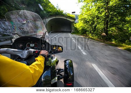Chronicles of bikers or road adventure. Ahead of the tunnel.