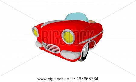 Vintage red retro car isolated . Illustration clip art