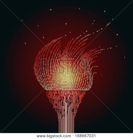 A burning red torch, consists of  printed circuit boards, the flame from the binary code. Artifact from the abstract of cyberspace
