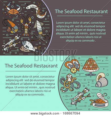 Seafood vector card with symbols of various delicacies - oyster, cancer, molluscs, mussels, eel, caviar, anchovies, octopus and dorado.
