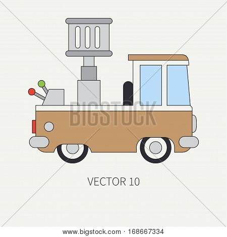 Line flat vector color icon service staff car with hydraulic lift. Commercial vehicle. Cartoon vintage style. Cargo transportation. Maintenance. Industrial. Tow. Illustration and element for design.