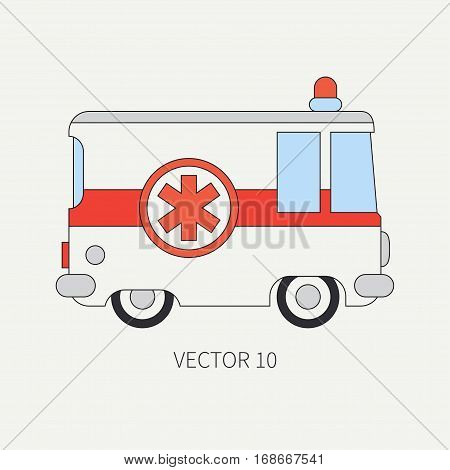 Line flat vector color icon ambulance car. Emergency assistance vehicle. Cartoon style. Reanimation. Maintenance. Paramedics. Medicine. Hospital. Rescue. Siren Illustration and element for design
