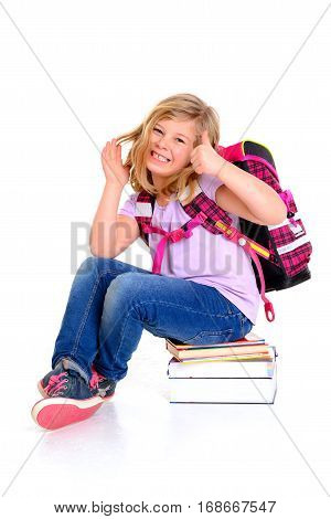 Girl With Schoolbag A Pile Of Books With Thumb Up