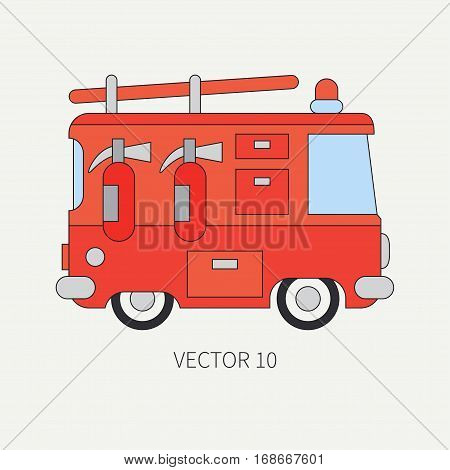 Line flat vector color icon fire truck. Emergency assistance vehicle. Cartoon style. Fireman. Maintenance. Rescue. Fire department. Extinguisher. Siren. Road. Help Illustration and element for design