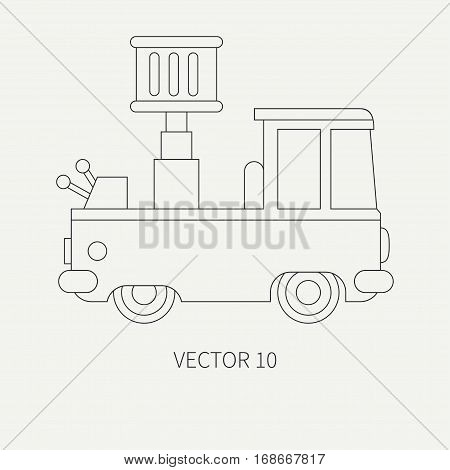 Line flat plain vector icon service staff car with hydraulic lift. Commercial vehicle. Cartoon vintage style. Cargo transportation. Maintenance. Industrial. Tow. Illustration and element for design.