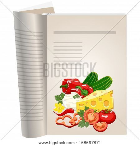 Template pages of a cookbook. You can have there favorite recipes. A set of ingredients can be used for cooking pizza. Healthy eating. The template for the layout of text recipes.