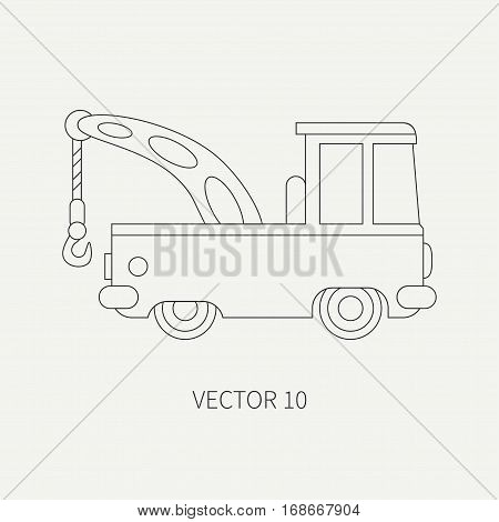 Line flat plain vector icon service staff car with hydraulic crane. Commercial vehicle. Cartoon style. Cargo transportation. Hoist. Maintenance tow auto. Road Illustration and element for design.